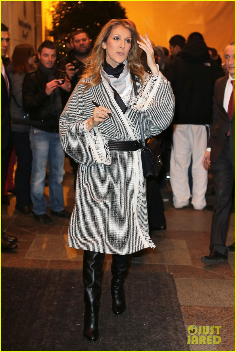 celine dion george v hotel exit with family 01