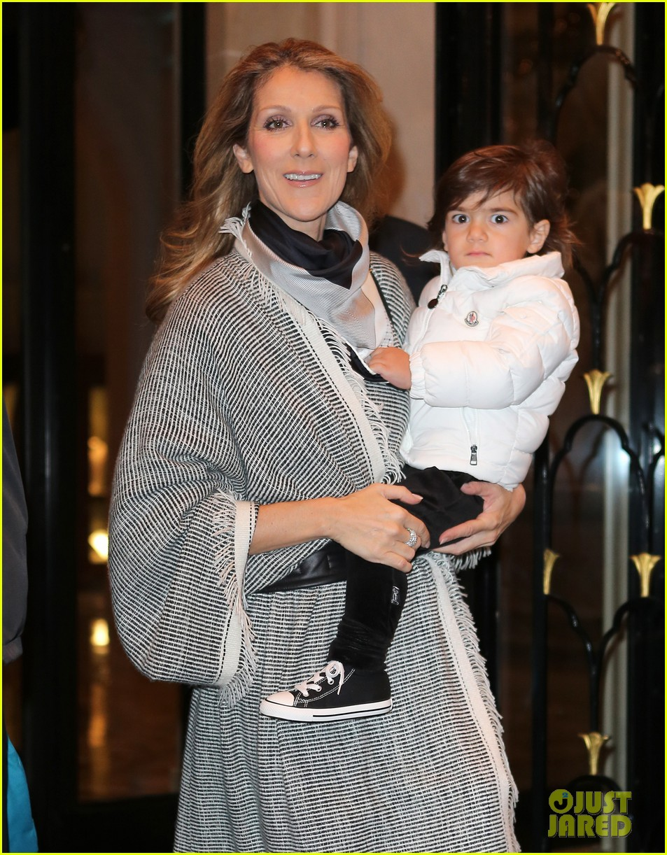 celine dion george v hotel exit with family 02