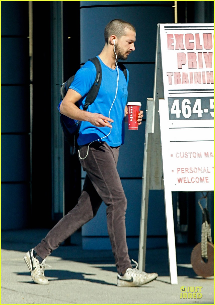 shia labeouf debuts new buzz cut at the gym 01