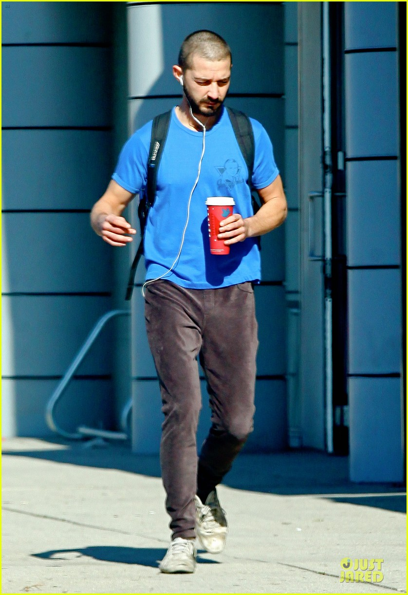 shia labeouf debuts new buzz cut at the gym 07