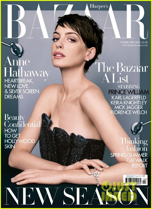 anne hathaway covers harpers bazaar february 2013