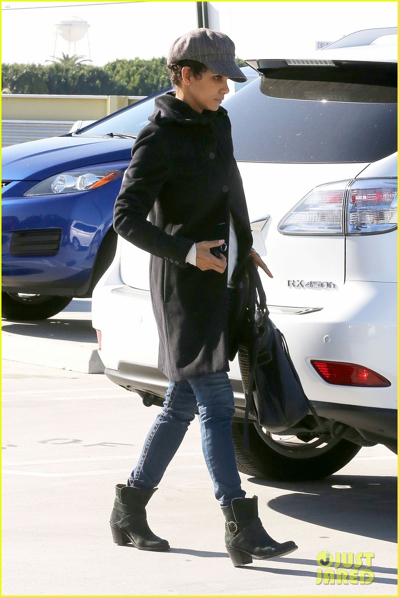 halle berry back at the vet with pet cat 13