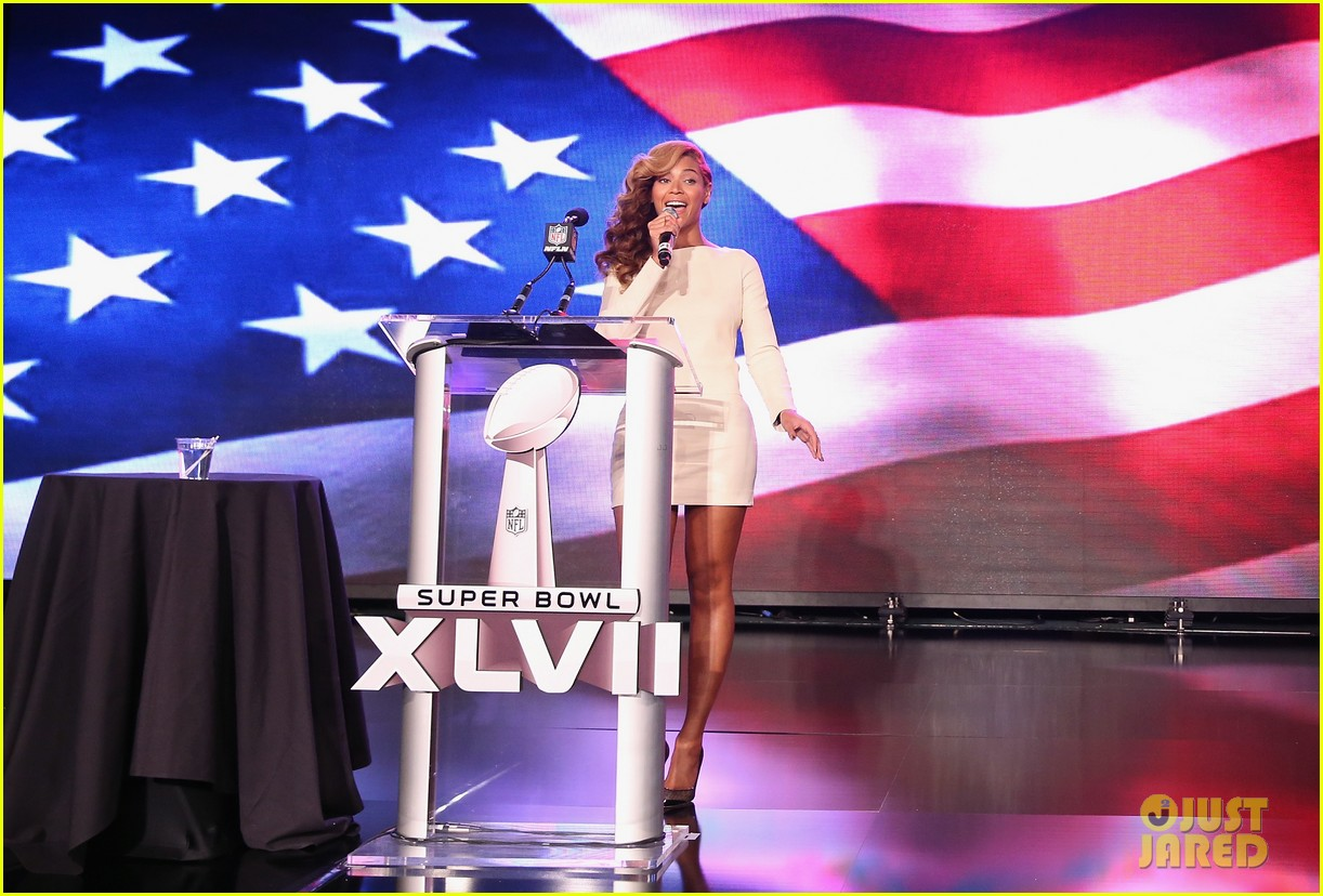 beyonce national anthem live at super bowl press conference 01
