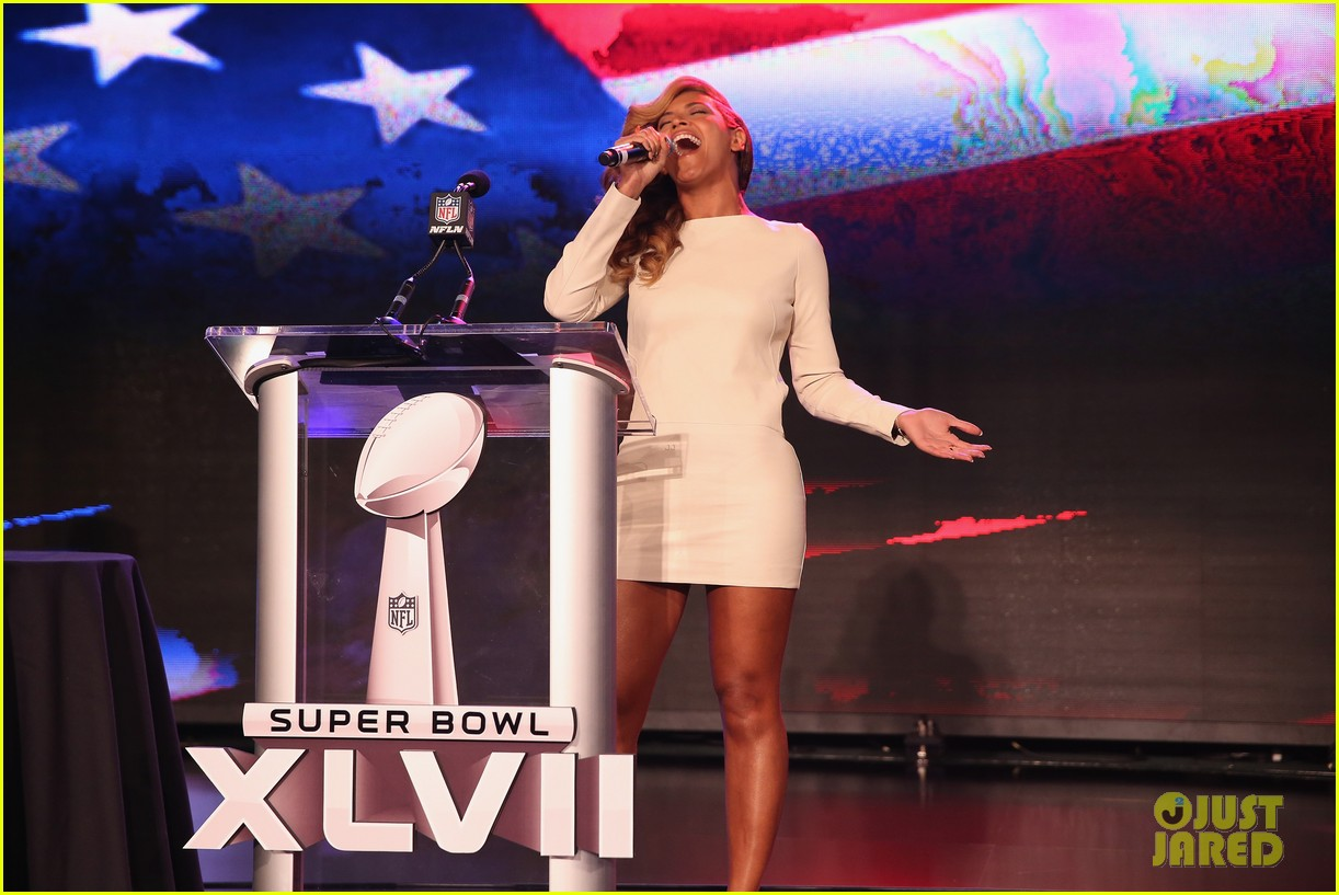 beyonce national anthem live at super bowl press conference 08