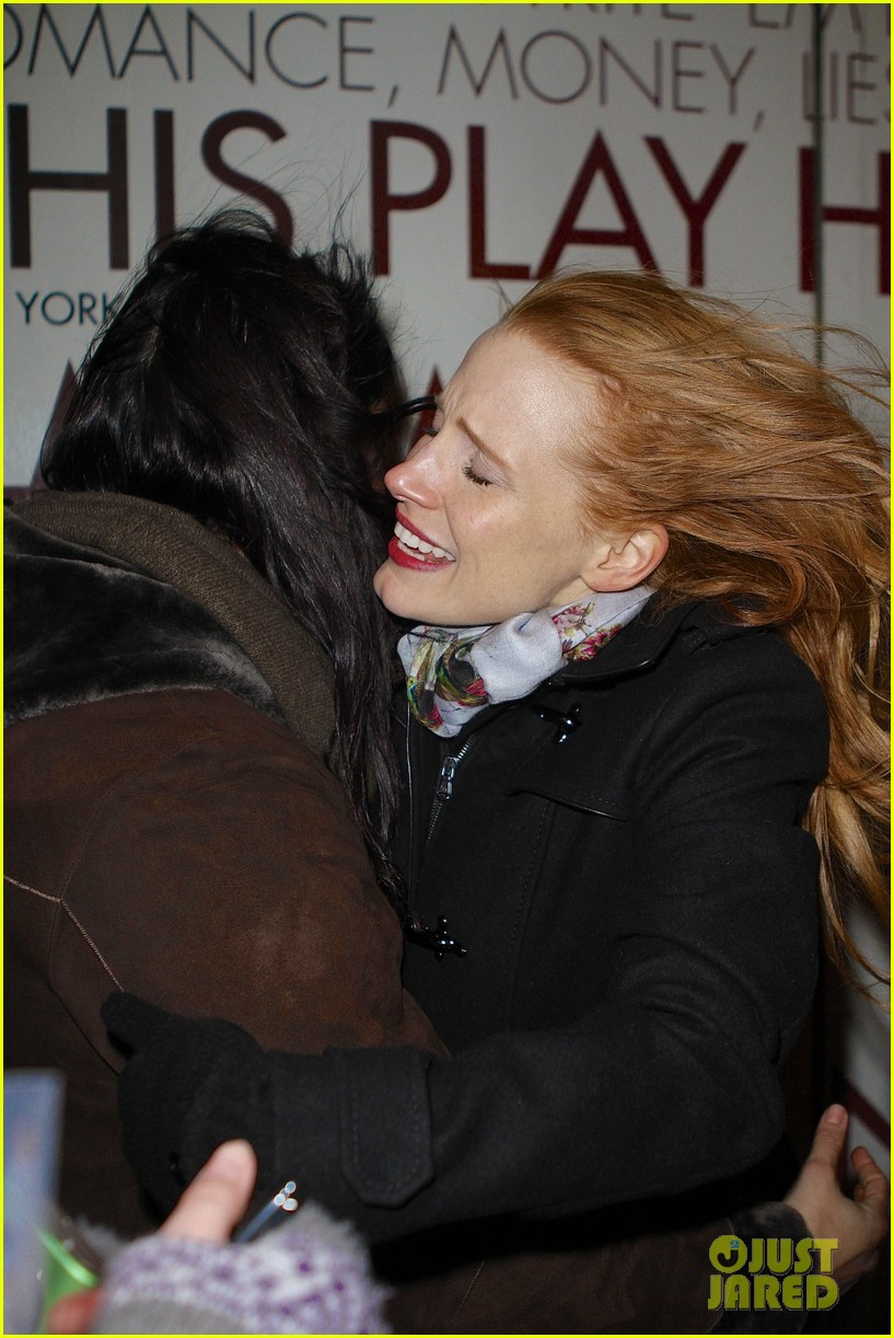 jessica chastain consoles crying fan at the heiress 04