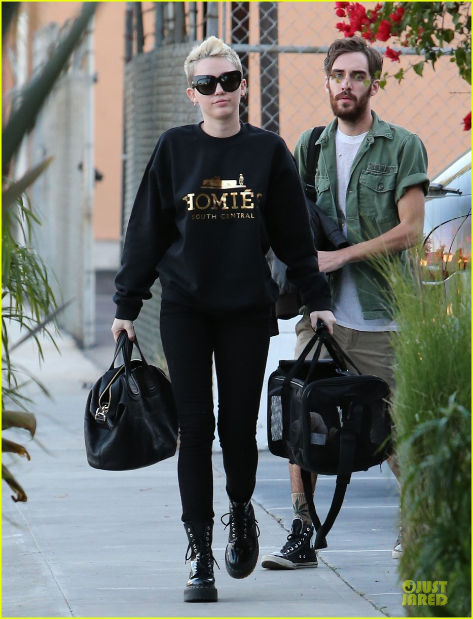 miley cyrus recording studio session with pet pooch bean 01