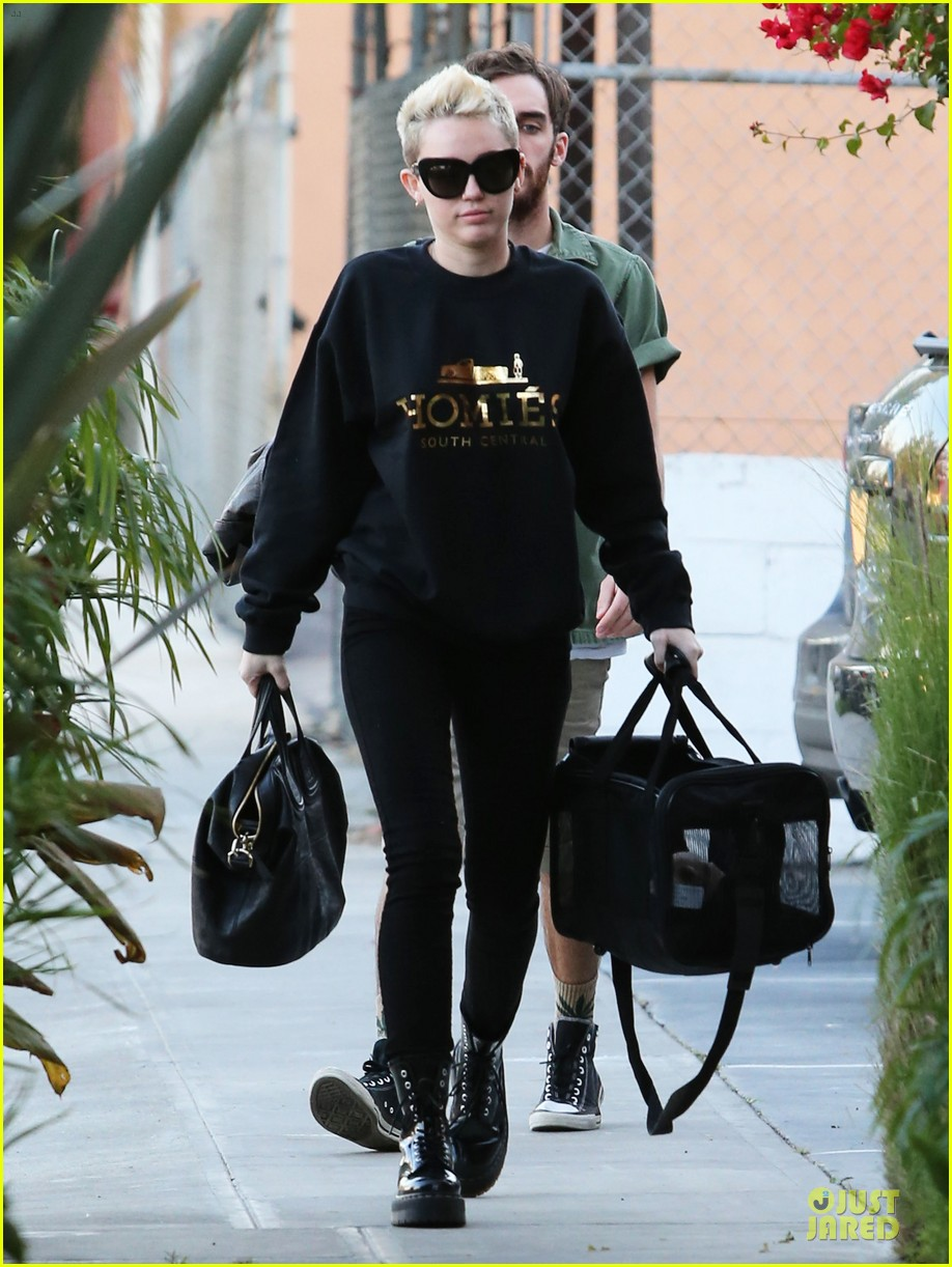 miley cyrus recording studio session with pet pooch bean 05