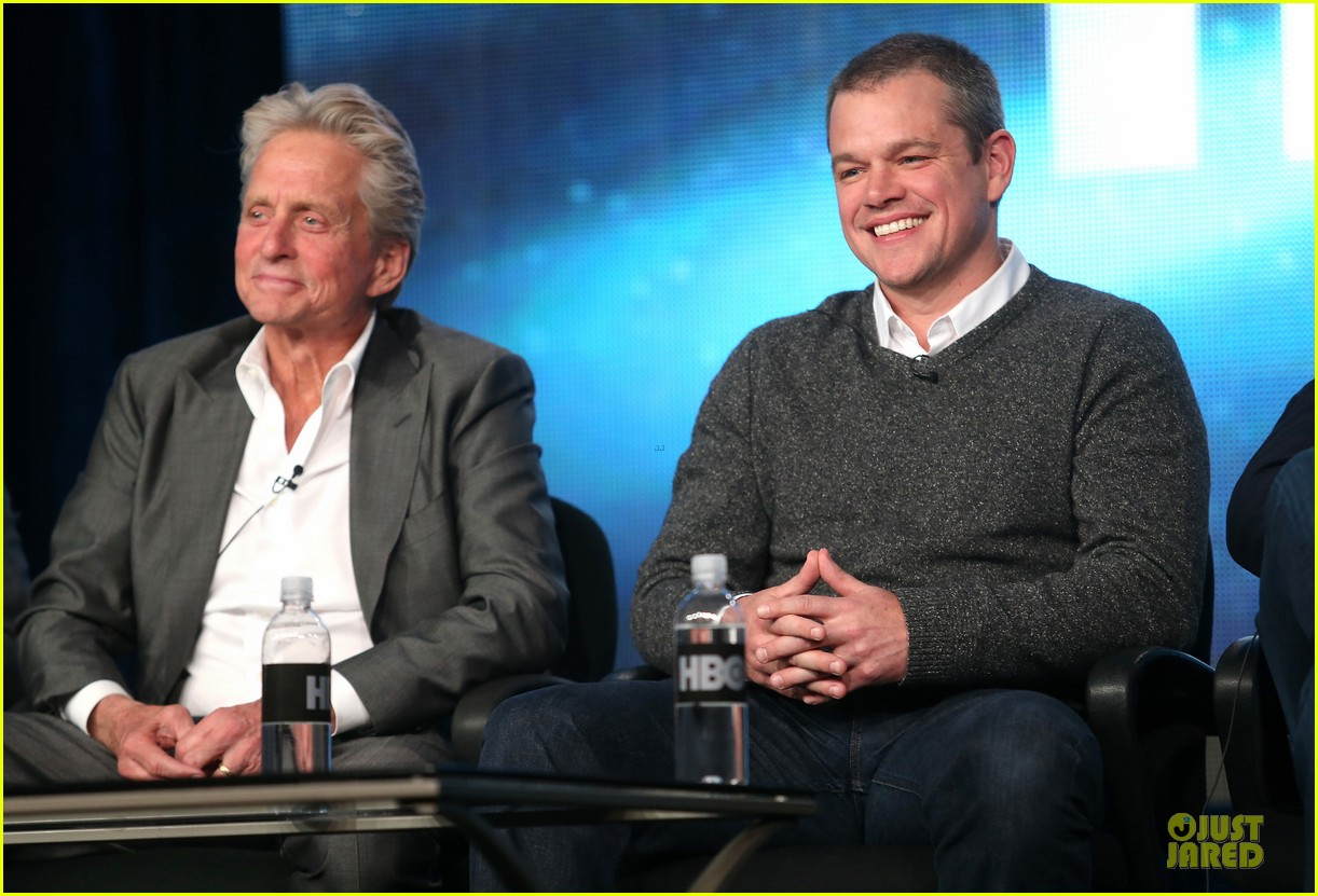 matt damon & michael douglas behind the candlebra tca panel 122784989