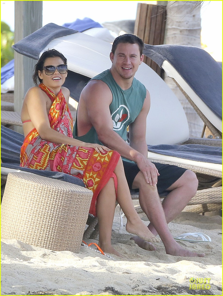 pregnant jenna dewan & channing tatum st barts kissing pair 252783255