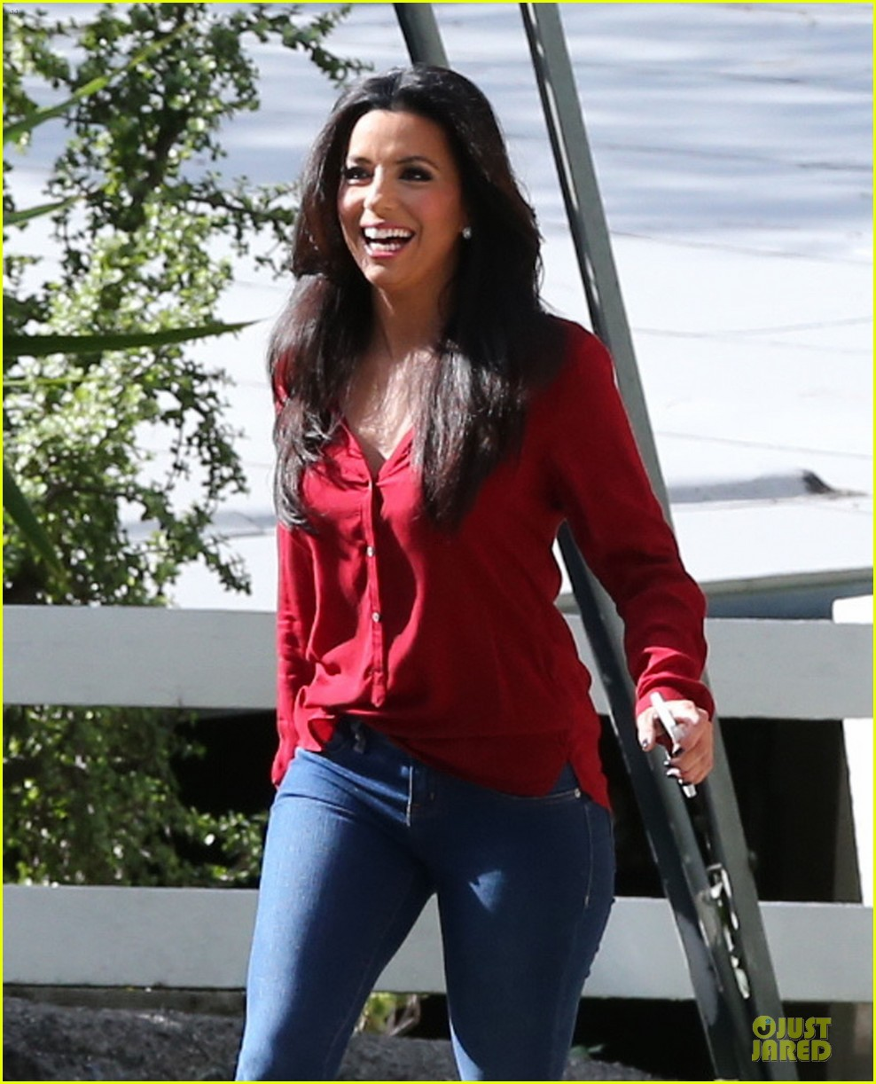 eva longoria red hot work day in santa monica 222786387
