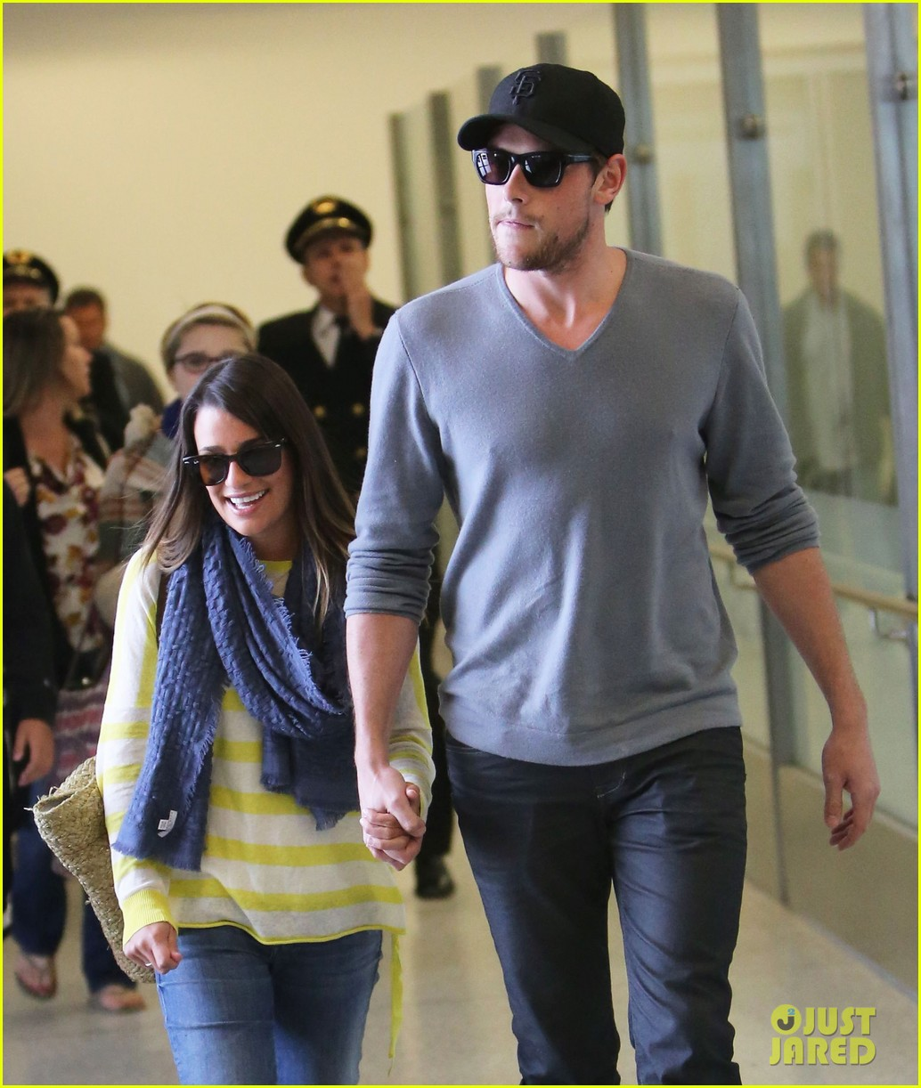 lea michele cory monteith holding hands at lax 10