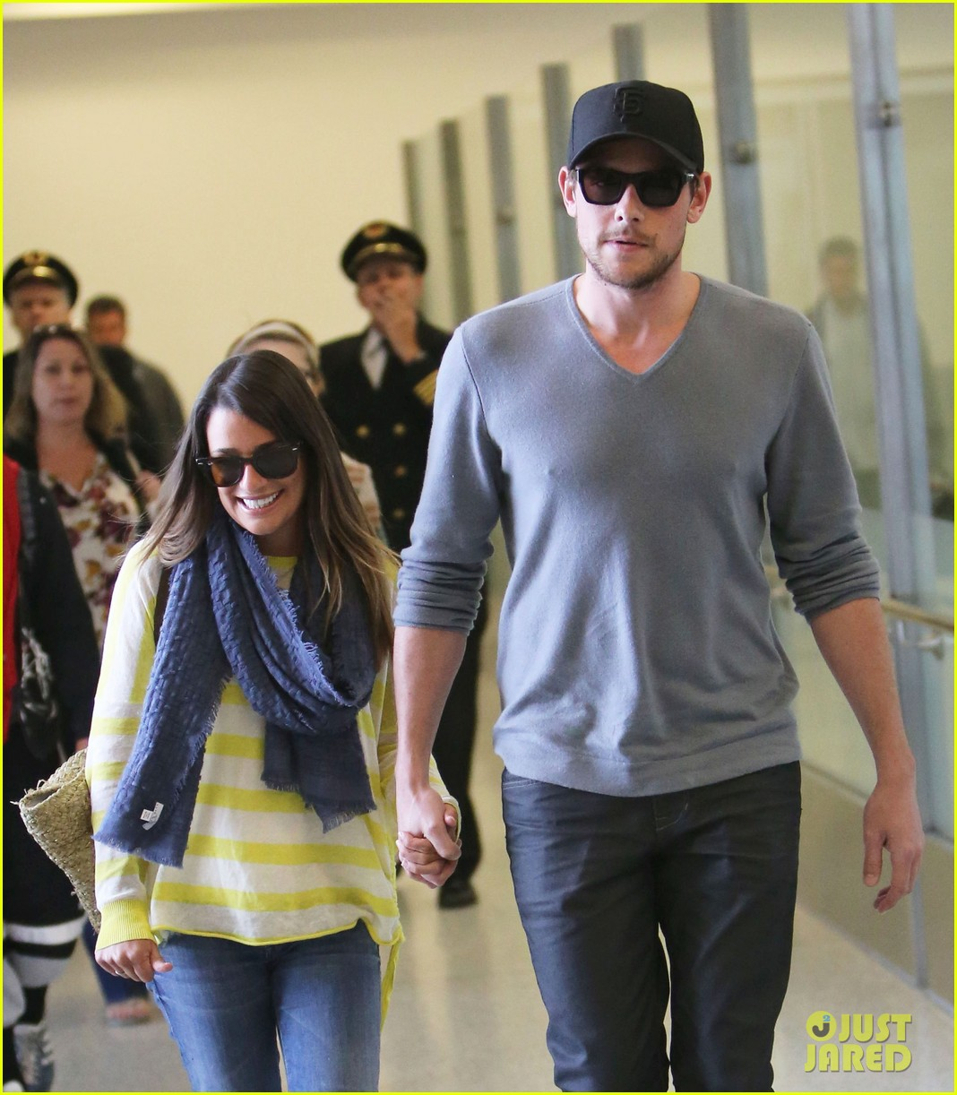 lea michele cory monteith holding hands at lax 11