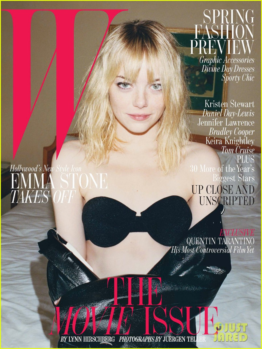 emma stone bares bra for w magazine movie issue 042793746