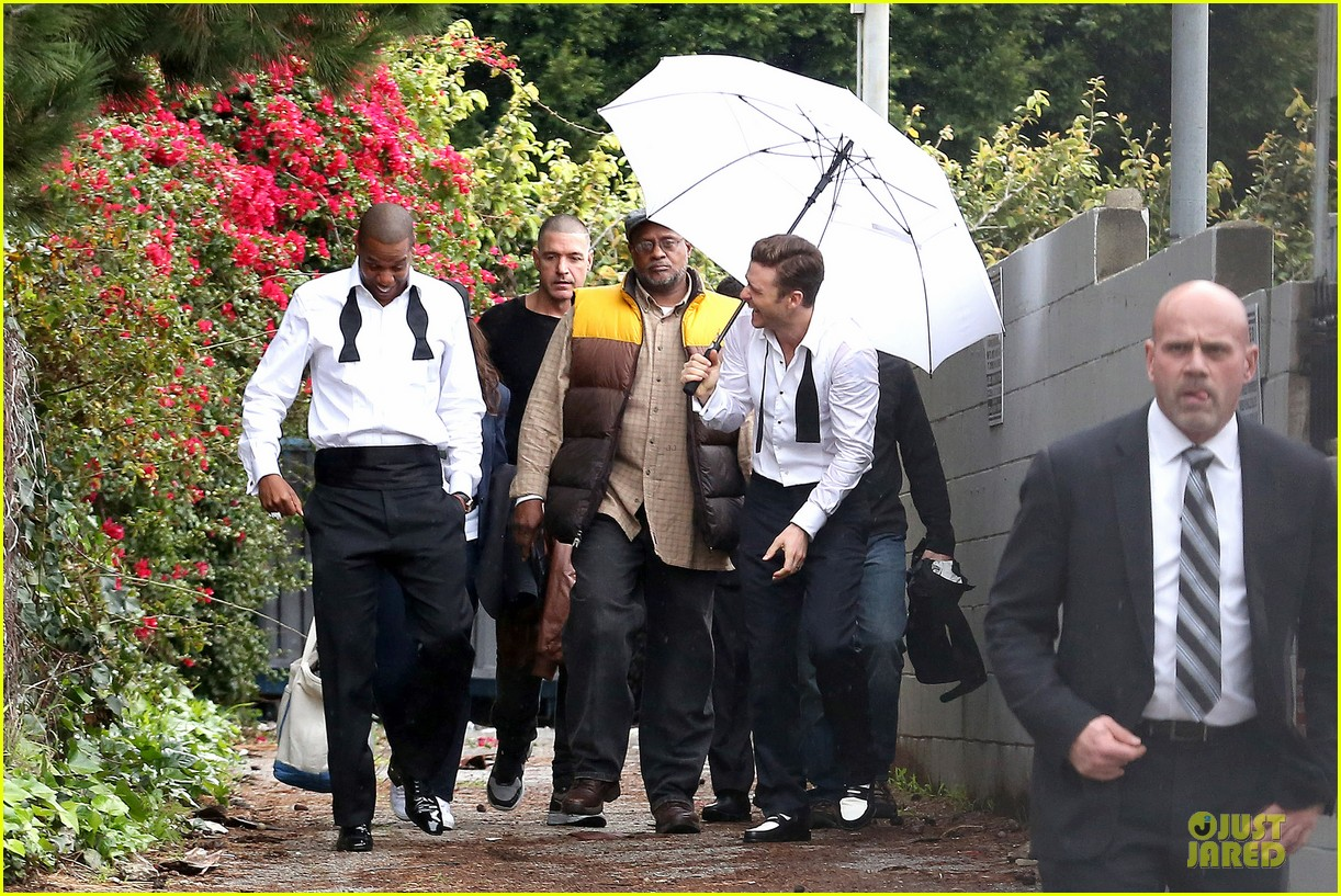 justin timberlake suit & tie music video shoot with jay z 04