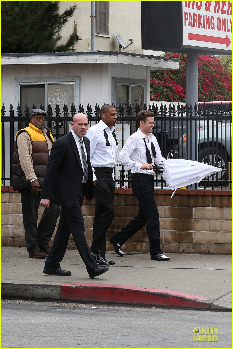 justin timberlake suit & tie music video shoot with jay z 05