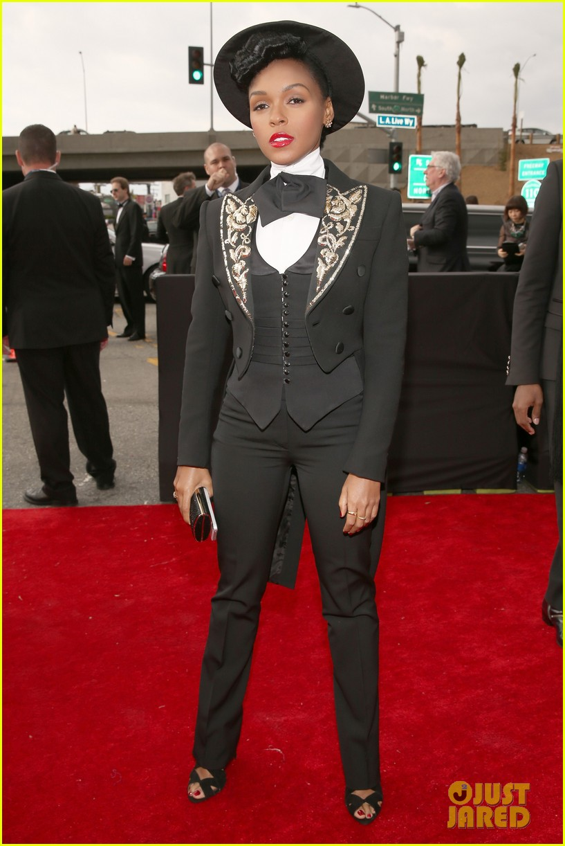 estelle janelle monae grammys 2013 red carpet 06