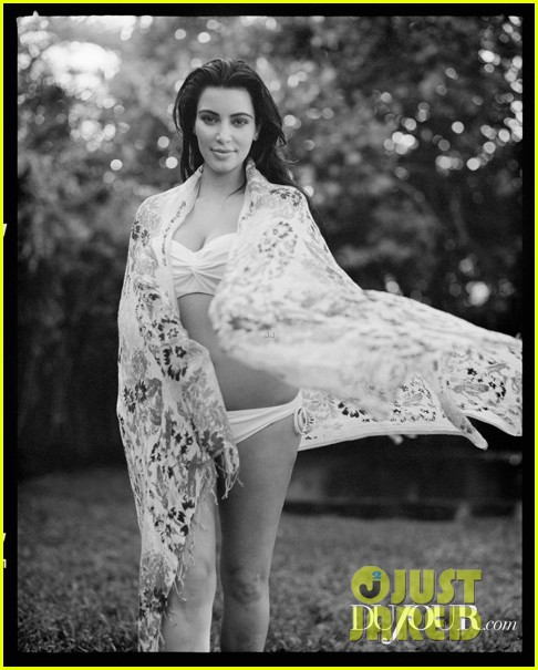 kim kardashian pregnant bikini photo shoot for dujour 02.