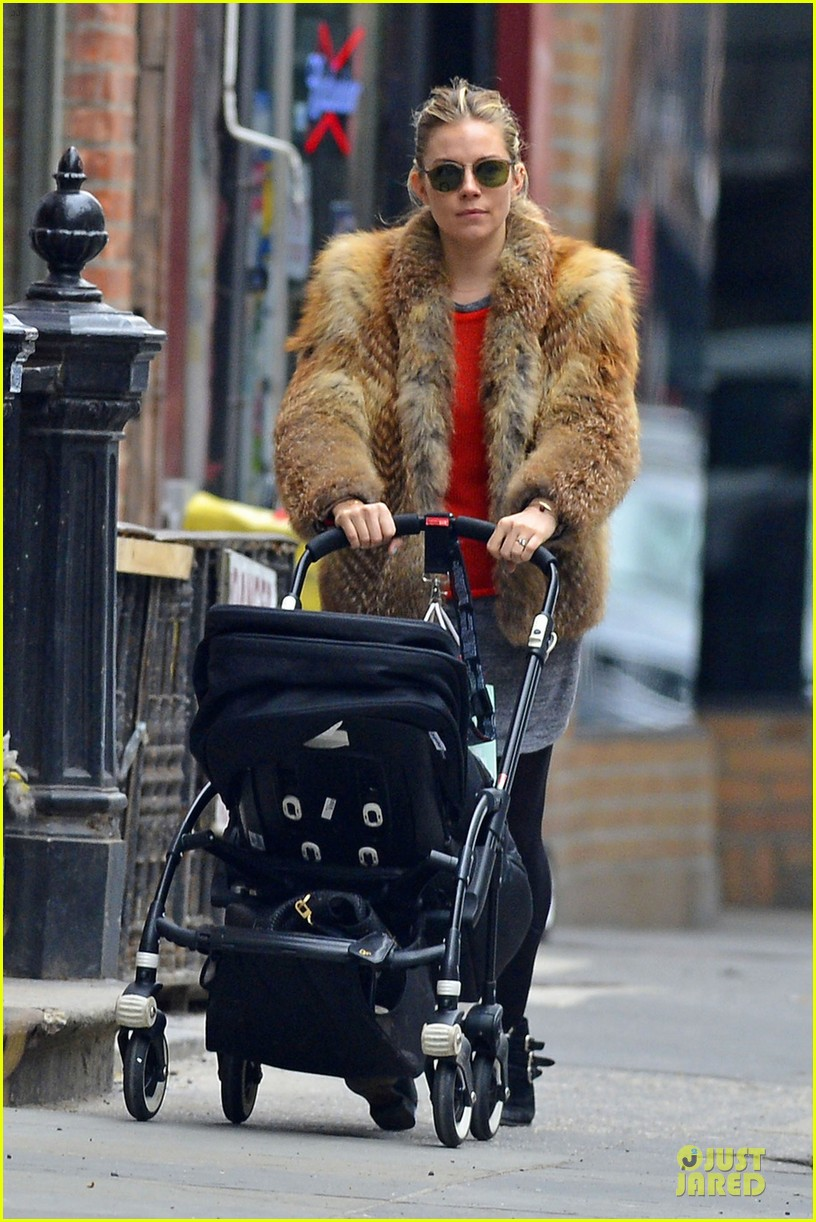 sienna miller fur coat stroll with marlowe 04