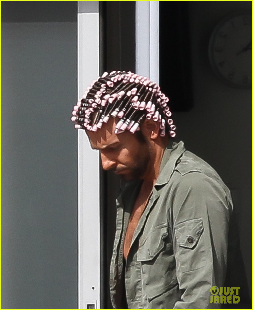 bradley cooper hair rollers shirtless on set 04