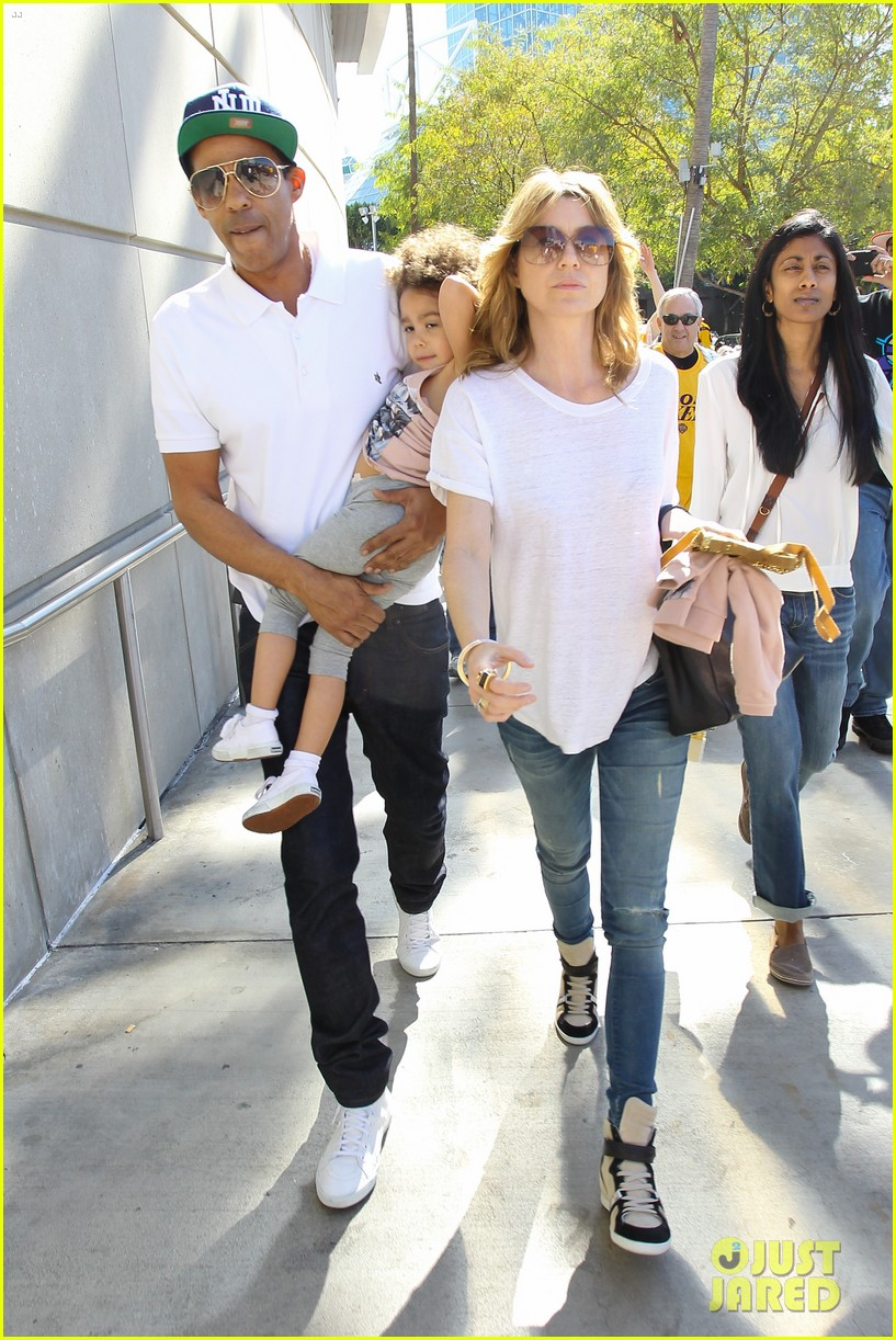 ellen pompeo chris ivery lakers game with stella 03