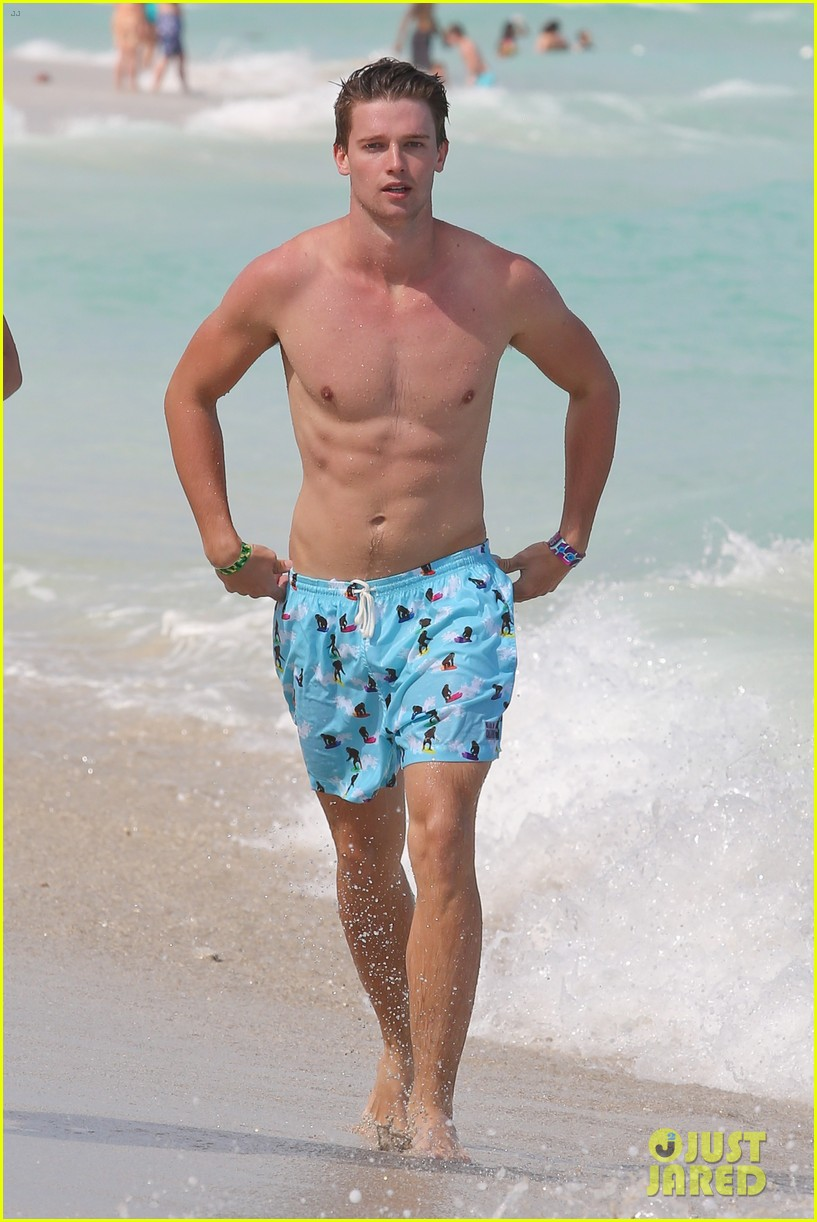 patrick schwarzenegger shirtless beach football 022837552