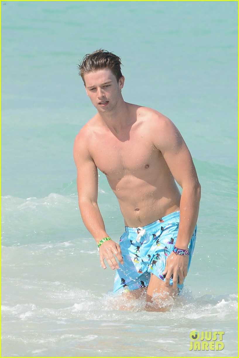 patrick schwarzenegger shirtless beach football 172837567