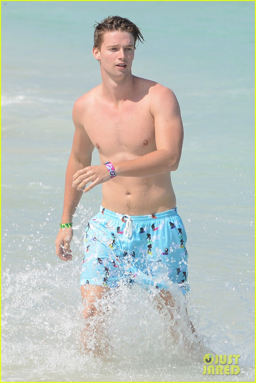 patrick schwarzenegger shirtless beach football 20