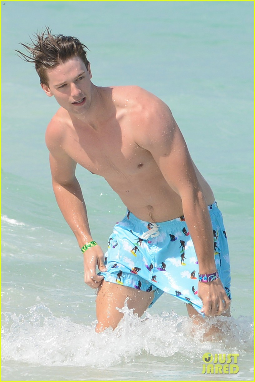 patrick schwarzenegger shirtless beach football 232837573