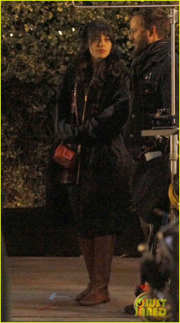 zooey deschanel beso new girl filming 21