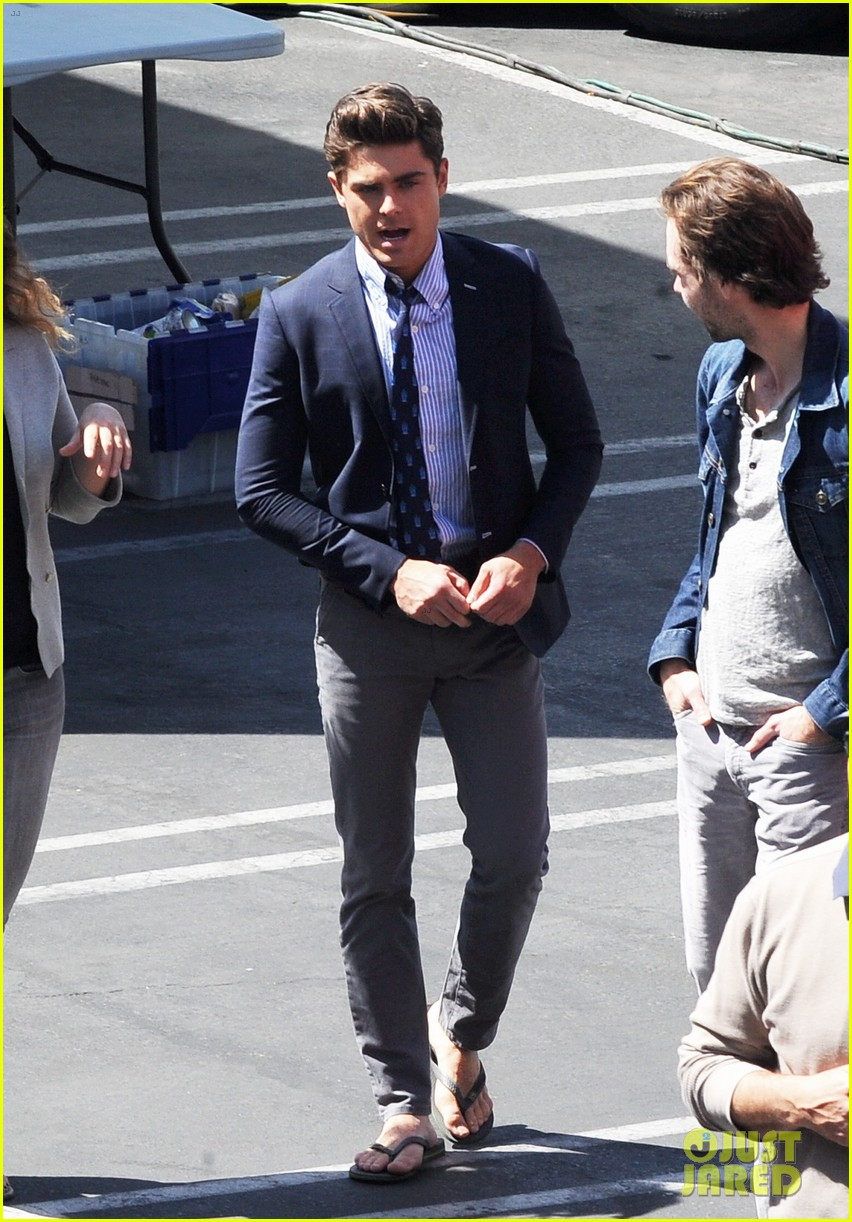 zac efron suit flip flops on townies set 032845700