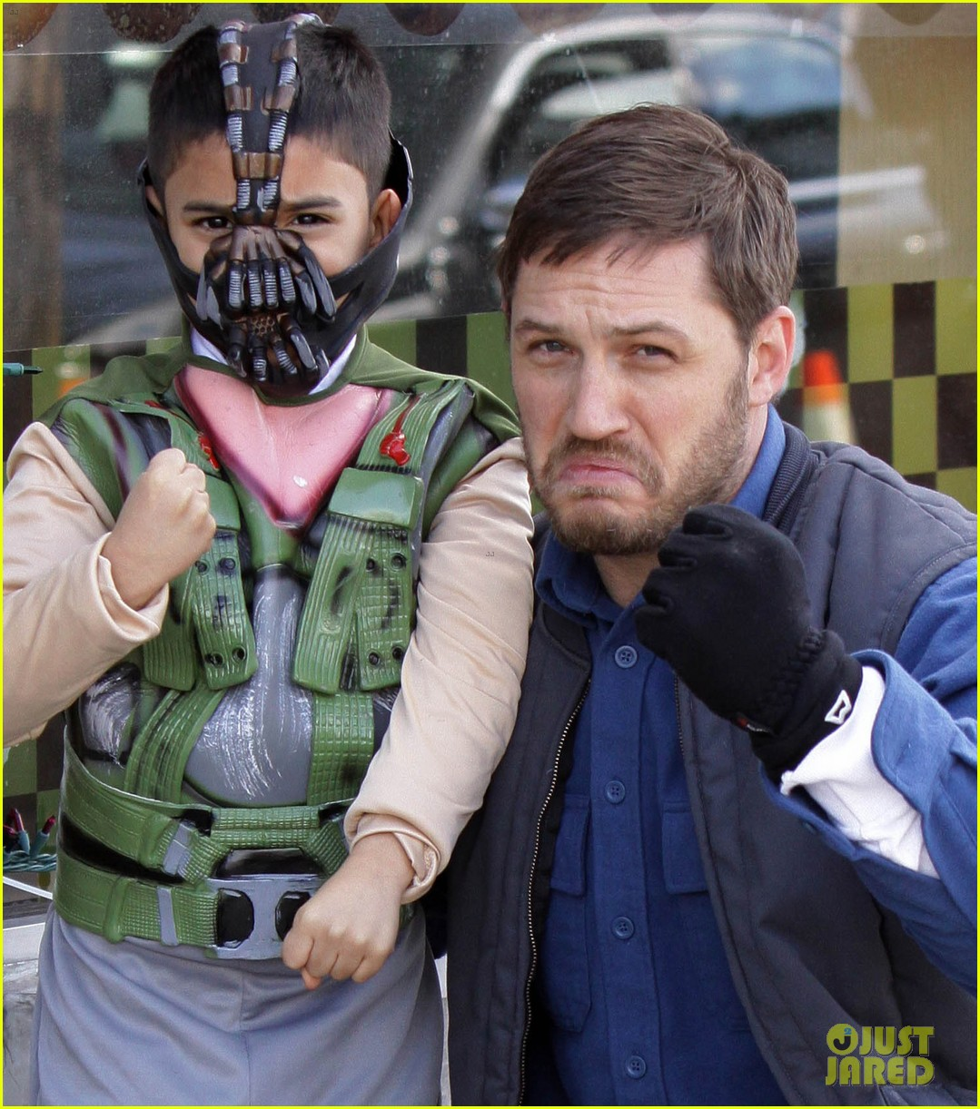 tom hardy meets with mini bane on animal rescue set 02