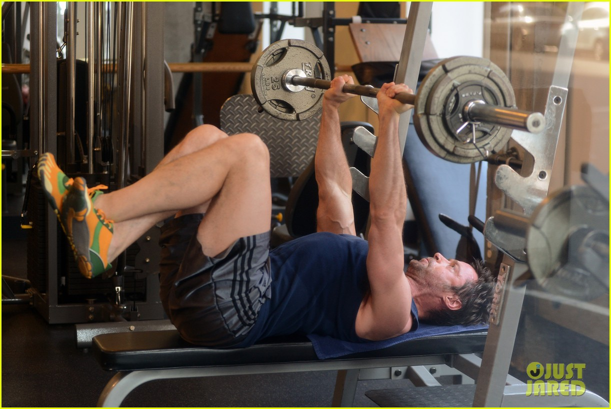 hugh jackman bulging bicep workout 122847033