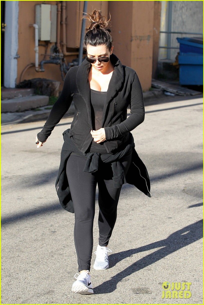 pregnant kim kardashian sheer baby bump after workout 112847093