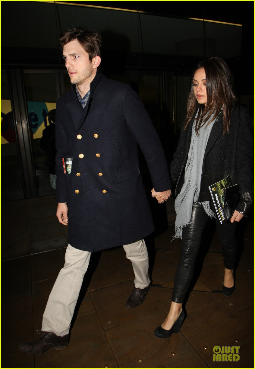 milia kunis ashton kutcher holding hands in london 13