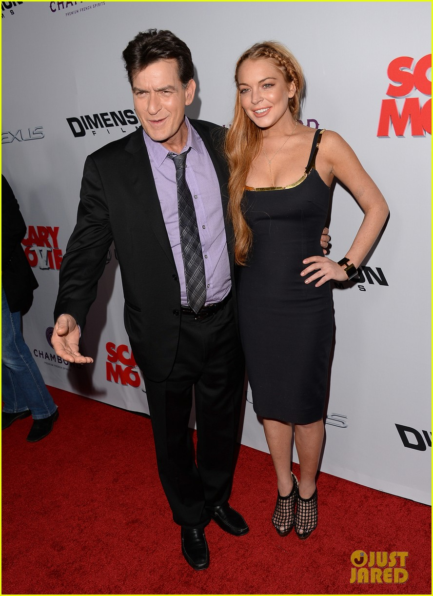 lindsay lohan scary movie 5 premiere with charlie sheen 03