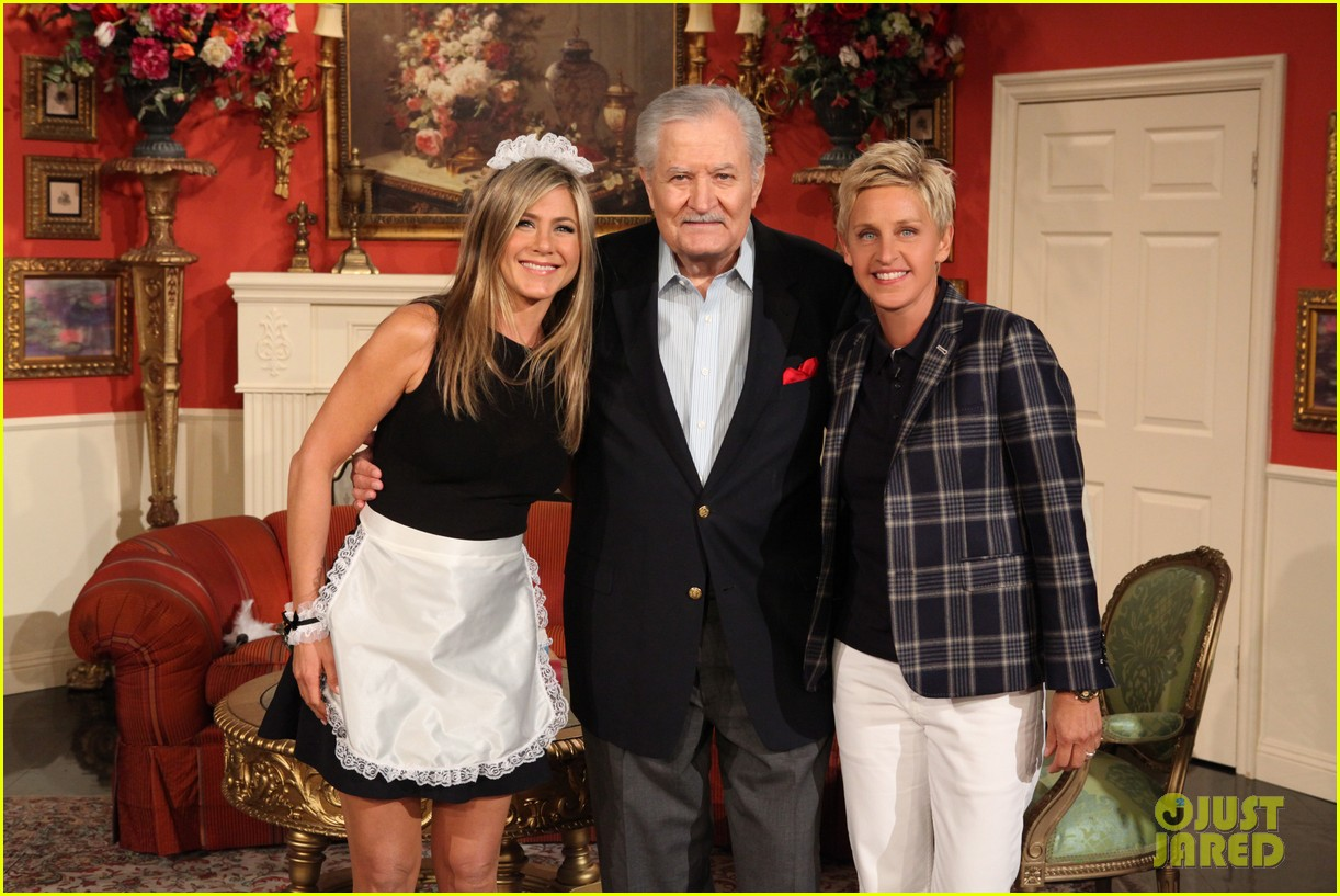 jennifer aniston wears maids outfit talks friends reunion on ellen 042876171