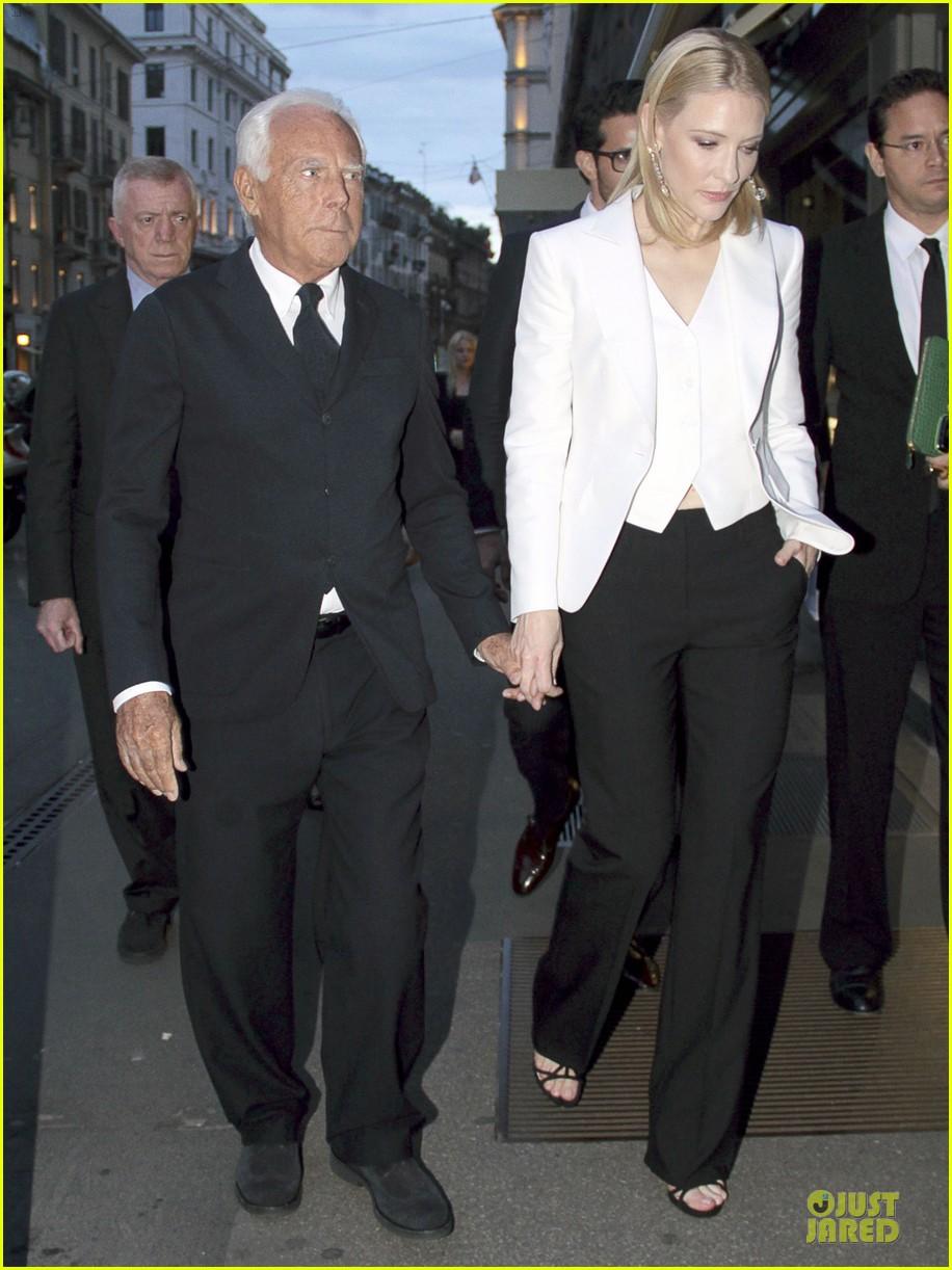 cate blanchett giorgio armani hold hands in milan 01