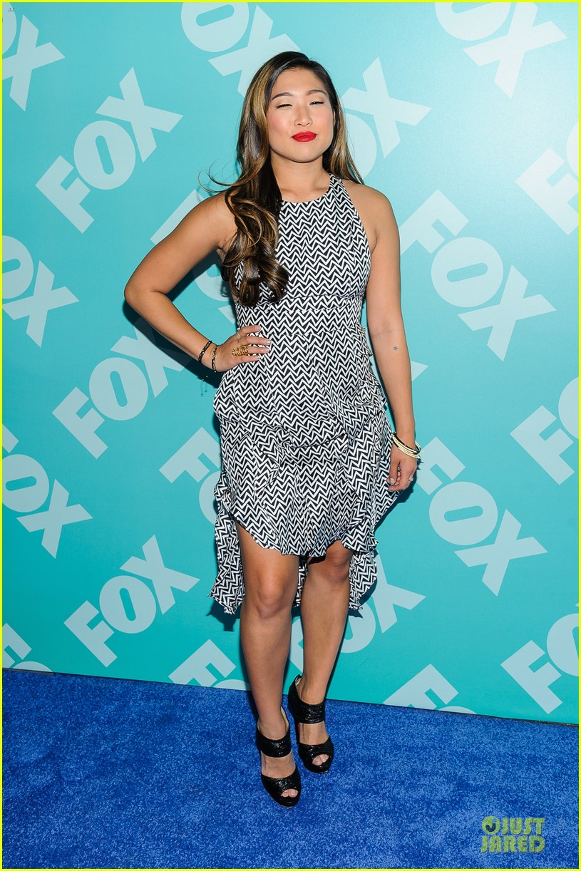 jenna ushkowitz chris colfer fox upfront presentation with glee cast 102869954