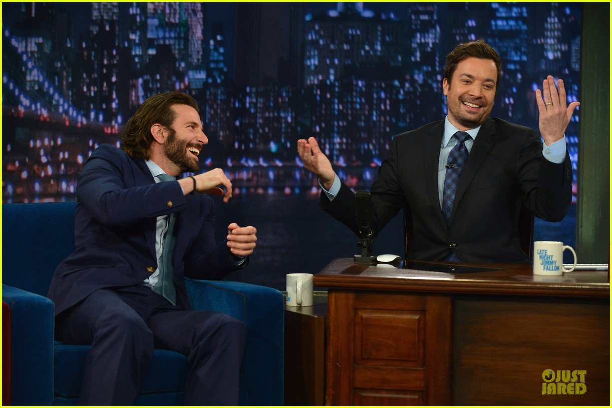 bradley cooper wears mini basketball hoop on fallon 13
