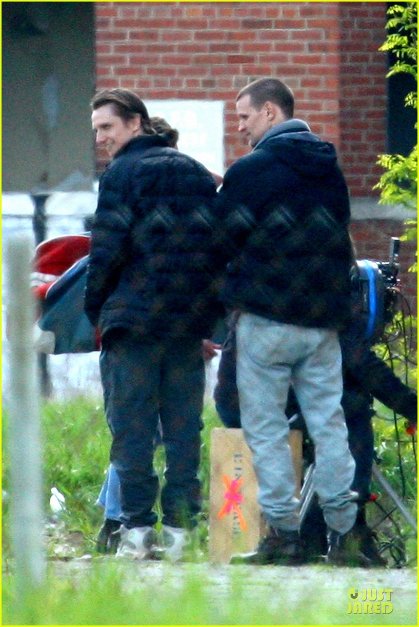 ryan gosling works with shirtless matt smith on monster set 072869806