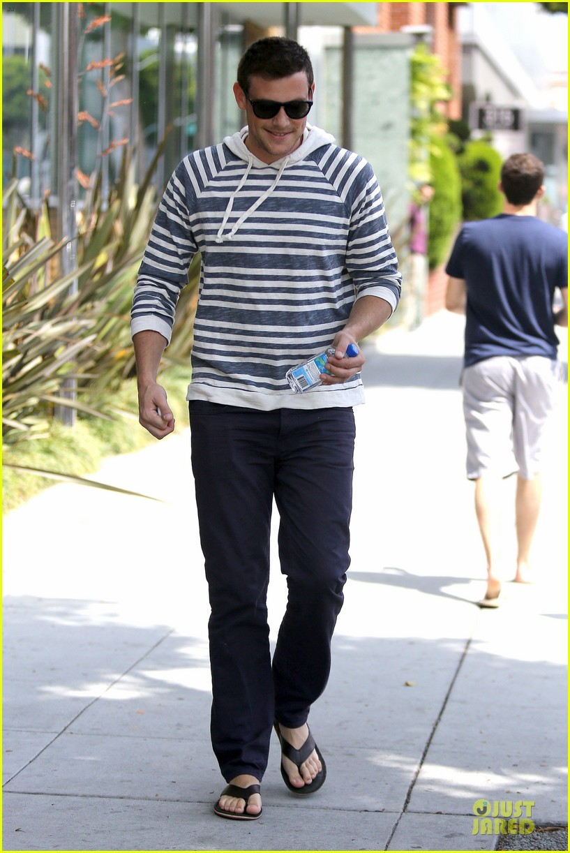 lea michele sheer grocery run cory monteith striped office meeting 052872585