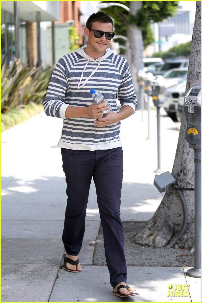 lea michele sheer grocery run cory monteith striped office meeting 06