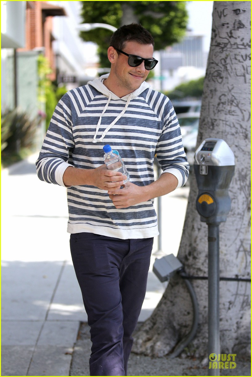 lea michele sheer grocery run cory monteith striped office meeting 072872587
