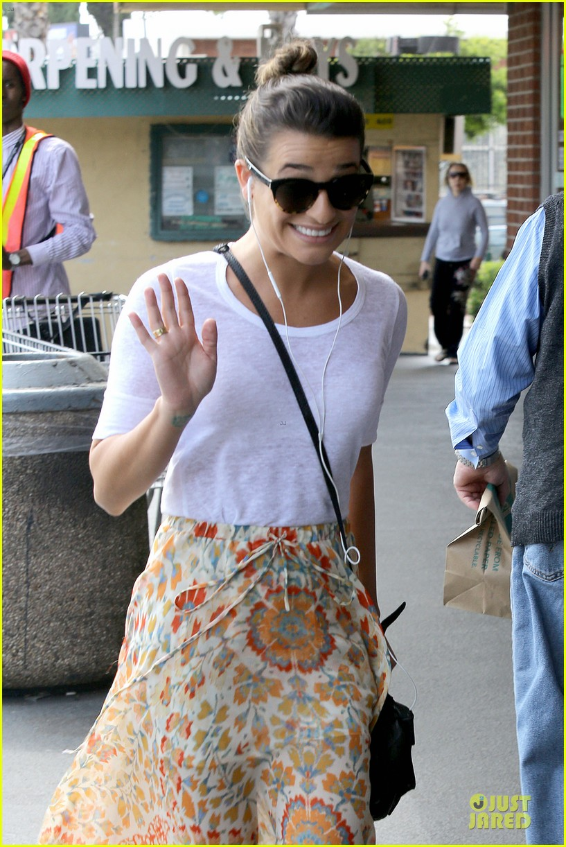 lea michele sheer grocery run cory monteith striped office meeting 362872616