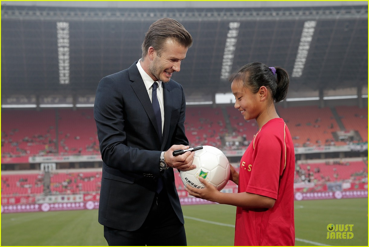 david beckham visits hangzhou greentown club victoria shops 312896344