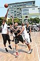 chris brown plays basketball at the bet experience fan fest 23