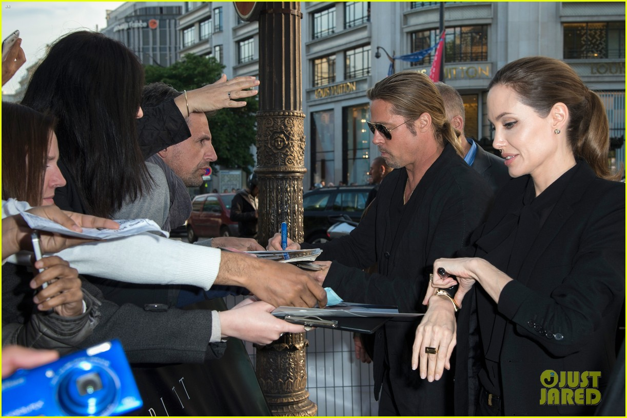 angelina jolie brad pitt world war z paris premiere 10