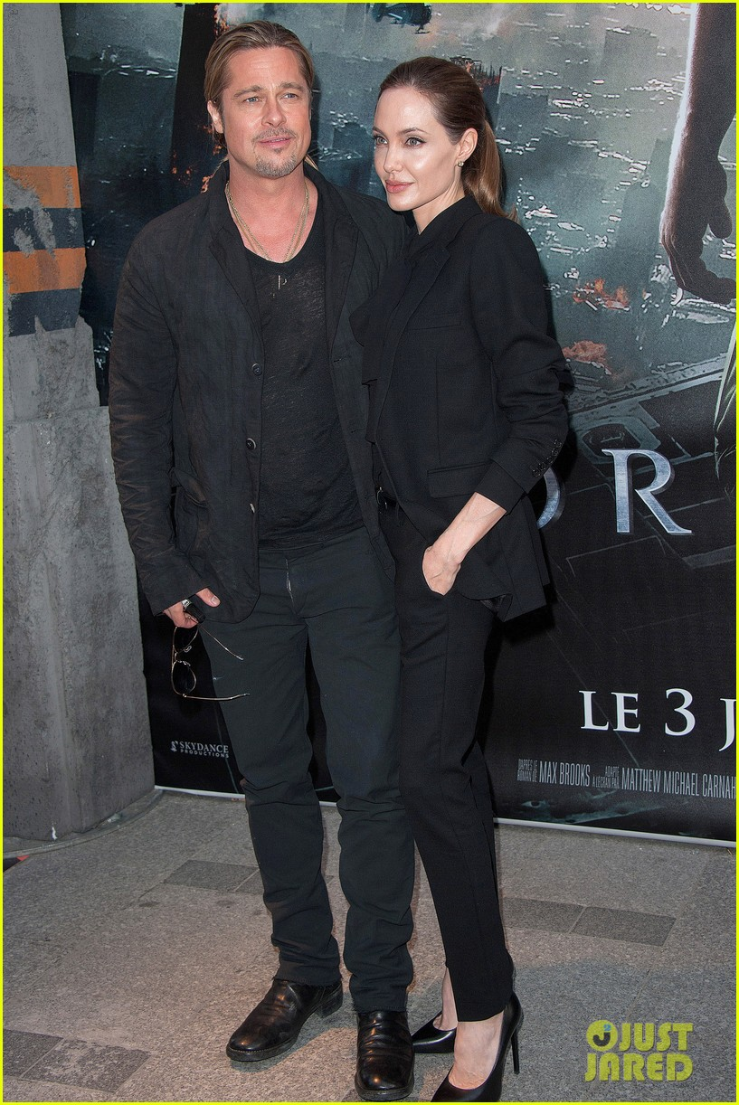 angelina jolie brad pitt world war z paris premiere 13