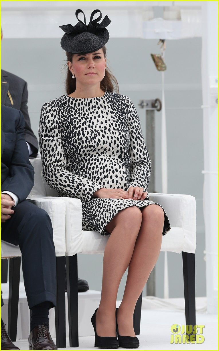 pregnant kate middleton baby bump at first ship christening 03