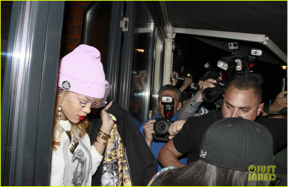 rihanna pink veiled beanie hat in amsterdam 142896581